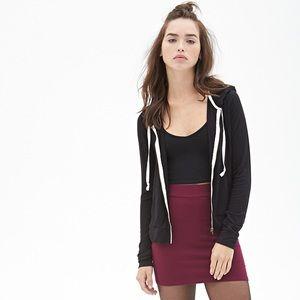 Forever 21 black basic zip up hoodie